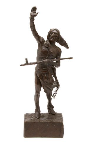 After Charles Marion Russell Standing Indian with arm raised, inscribed (on the underside), bronze, height 13in
