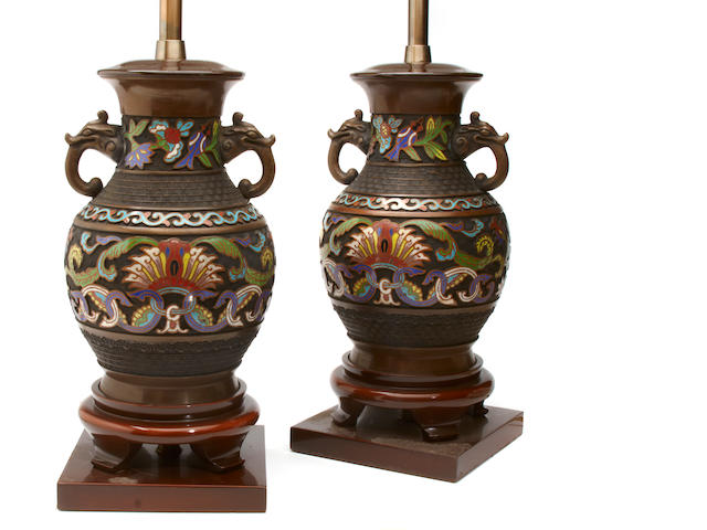 A pair of Chinese cloissone vases now as table lamps