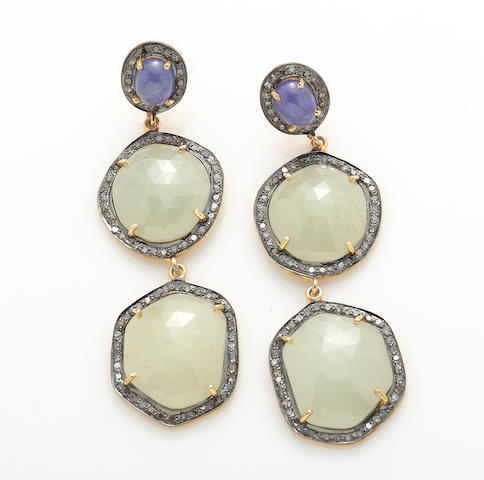A pair of sapphire, tanzanite, diamond, silver and 14k gold earrings