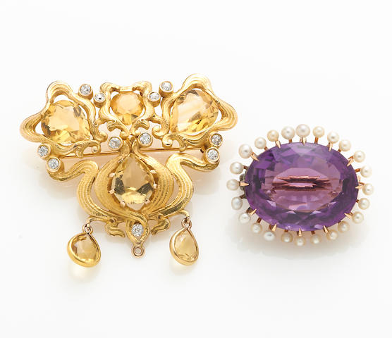 An amethyst, seed pearl and 14k gold brooch together with a citrine, diamond and 14k gold pendant/brooch