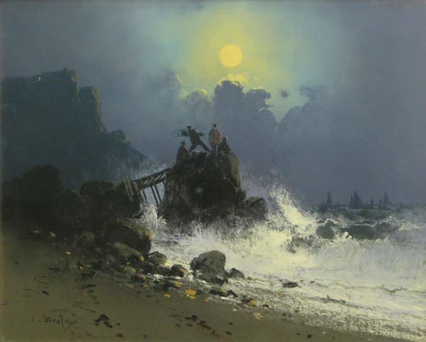 Clarence E. Braley, Fishing from the shore, pastel