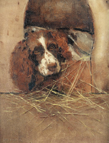 Samuel Fulton (British, 1855-1941) Home, sweet home - Spaniel at rest 18 x 14 in. (45.5 x 35.5 cm.)