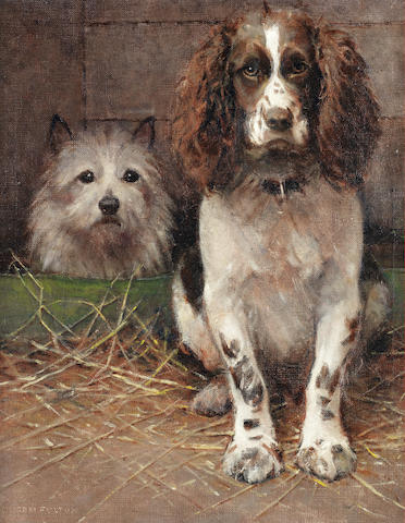Samuel Fulton (British, 1855-1941) Spaniel and Cairn 20 1/4 x 16 in. (51.5 x 40.5 cm.)