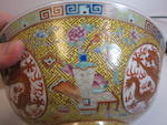 A pair of yellow ground famille rose enameled dragon bowls Guangxu marks and period