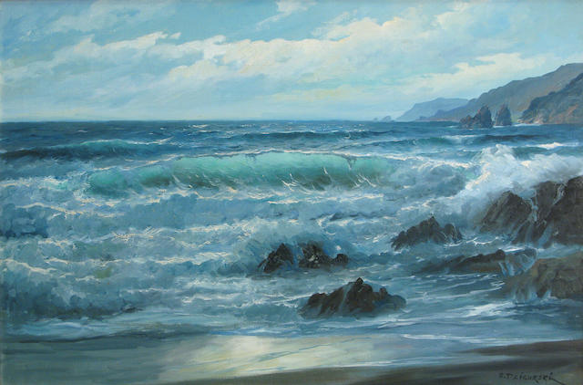Alexander Dzigurski (Yugoslavian/American, 1911-1995) Waves crashing on a rocky coast 24 x 36in