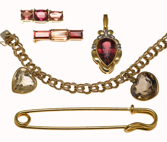 A collection of gem-set, 14k gold and 18k bicolor gold jewelry together with a metal oversized safety pin