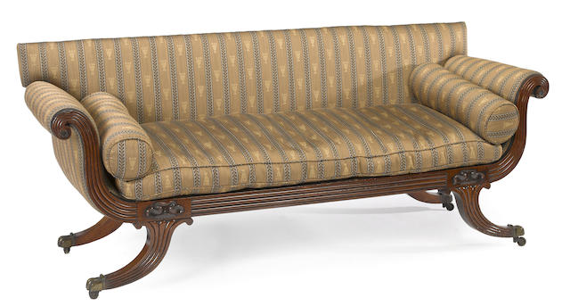 A Regency mahogany upholstered sofa <BR />early 19th century