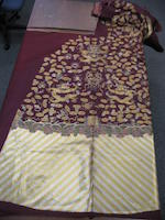 An embroidered russet silk ground uncut dragon robe Republic period