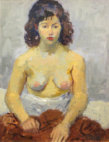 Raphael Soyer (American, 1899-1987) Seated nude 16 x 12in