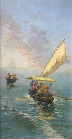 Italian School, 19th Century The boating party 10 x 5 1/2in