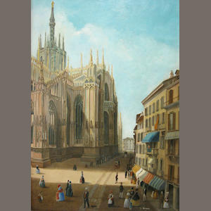 Italian School, late 19th/ early 20th Century  SHOW MAF A view of Milan Cathedral 11 3/4 x 8 1/4in