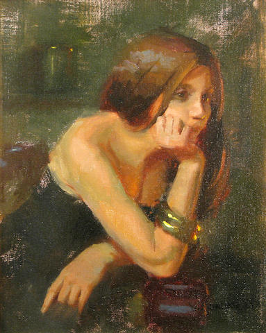 William Schneider, Lost in Thought, oil, 18 x 14in