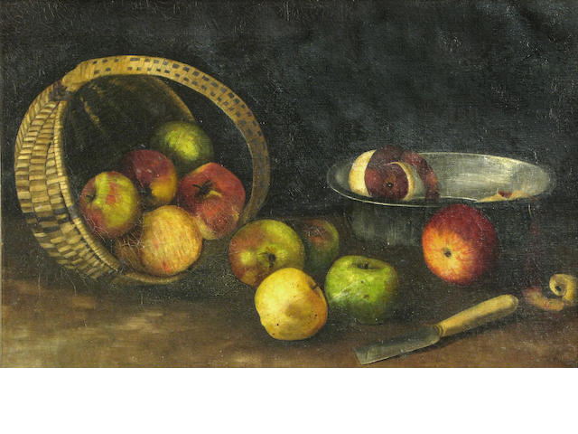 Virgil Macey Williams, Apples and Basket, o/c, signed and dated 1885, 16 x 24in