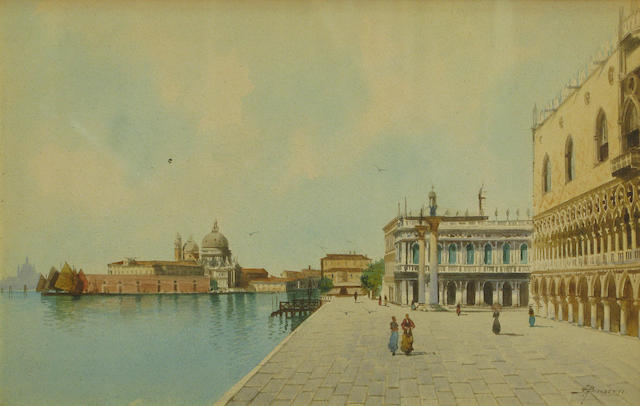 Andrea Biondetti (Italian, born after 1851-died after 1946) A view of the Riva degli Schiavoni, Venice sight, 7 x 11 1/2in