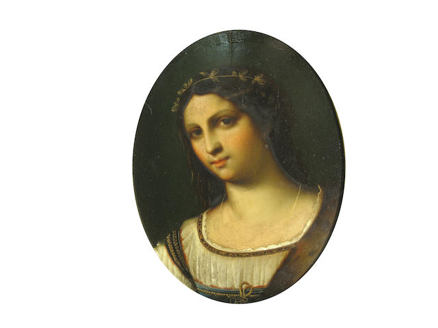 Manner of Raffaello Sanzio, called Raphael, 19th Century A head of a young woman oval, 8 1/2 x 7in