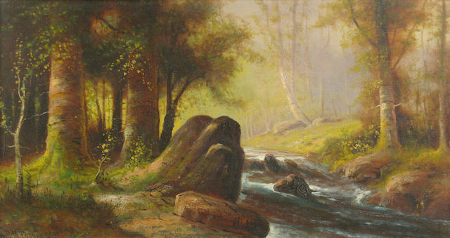 Astley David Middleton Cooper (American, 1856-1924) Forrest stream, 1921 16 x 30in