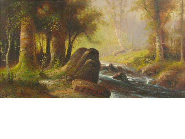 A.D.M. Cooper, Forrest Stream, o/c affixed to bd
