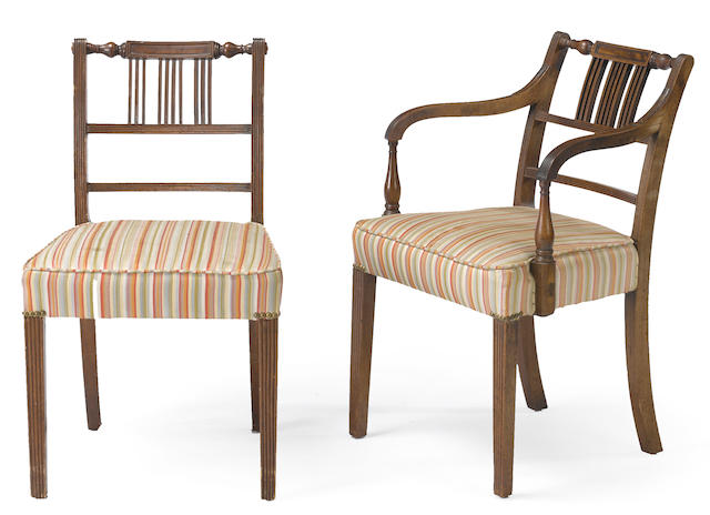 A set of twelve George III mahogany and upholstered chairs late 18th/early 19th century