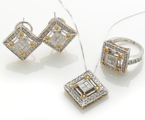 A diamond, colored diamond and 14k bicolor gold jewelry suite