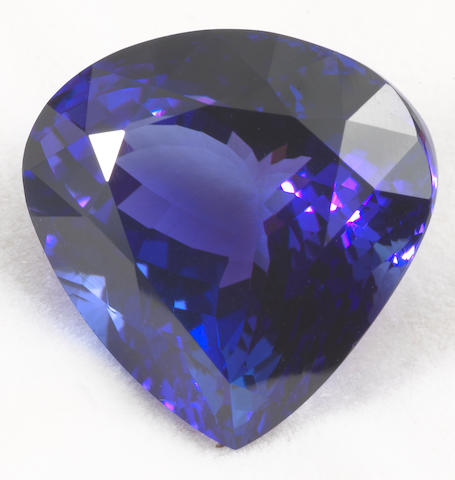 An unmounted tanzanite