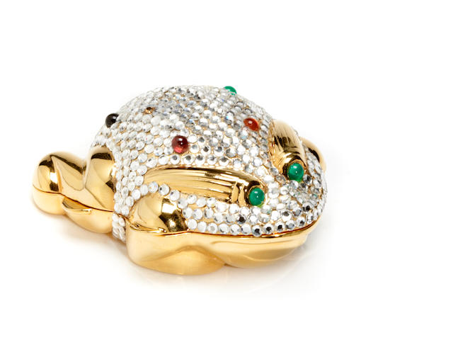 A Judith Leiber multi-colored crystal frog pill box