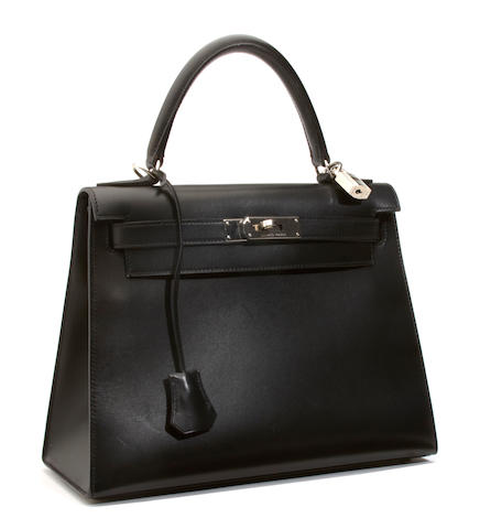 An Hermès black leather Kelly handbag