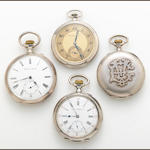 A collection of four silver open face pocket watches, International Watch Co. and C. Reinholdt Sohn
