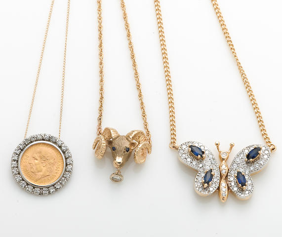 A collection of three gold coin, sapphire, diamond and 14k bicolor gold pendant/necklaces and pendant with chain