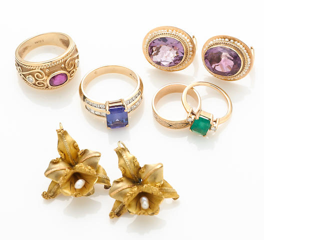 A collection of six gem-set, seed pearl, diamond, enamel, 14k and 18k gold jewelry