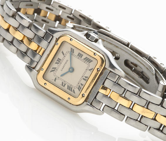 "A stainless steel and gold ""Santos"" wristwatch, Cartier"