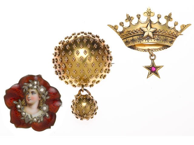 A guilloché enamel, enamel, diamond and silver brooch together with two ruby and 14k gold brooches