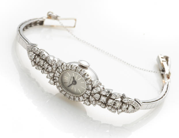 A diamond and 14k white gold bracelet wristwatch