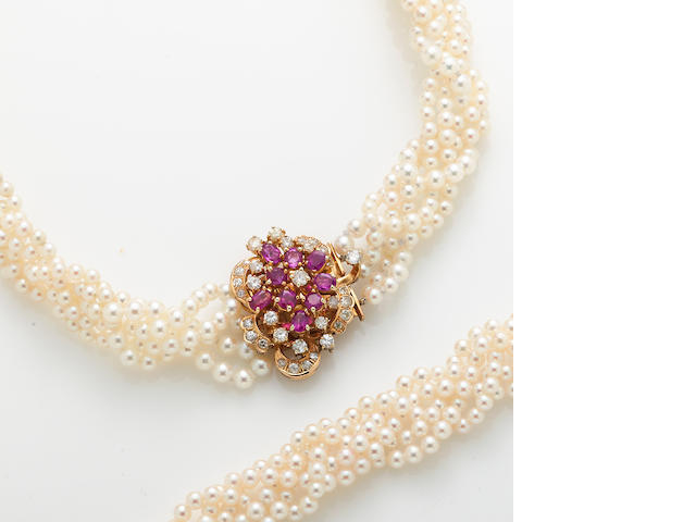 A cultured pearl, diamond, ruby and 14k gold braided multi-strand necklace together with similar bracelet