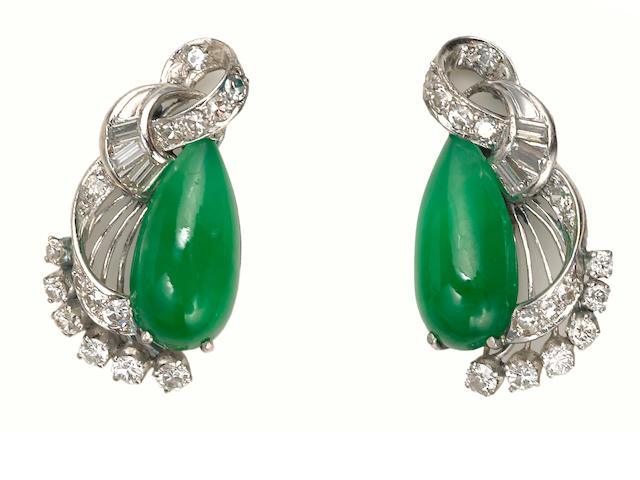 A pair of jadeite jade, diamond and platinum earrings