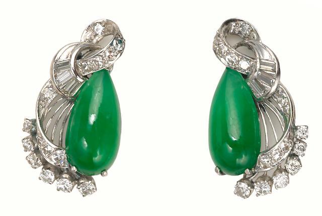A pair of jadeite jade, diamond and platinum earrings