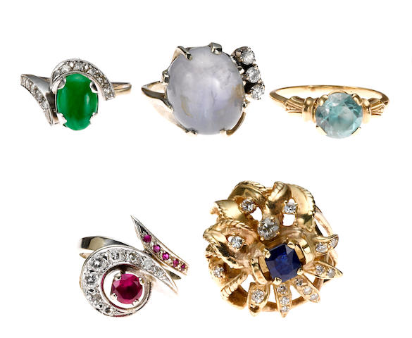 A collection of five gem-set, synthetic gem, diamond, 14k white and yellow gold rings