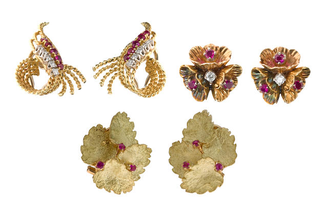 Three pairs of ruby, diamond, 18k and 14k gold non-pierced earrings