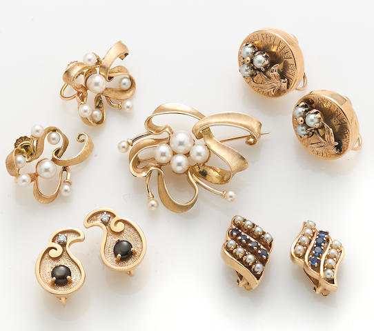 A collection of cultured pearl, sapphire, black star sapphire, diamond, and 14k gold jewelry
