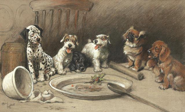 Cecil Charles Windsor Aldin, RBA (British, 1870-1935) Christmas dinner 12 1/4 x 19 1/2 in. (31 x 49.5 cm.)