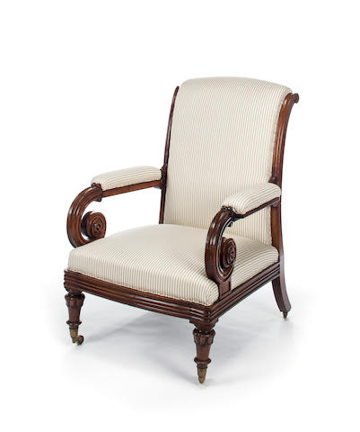 A George IV mahogany armchair<BR />second quarter 19th century