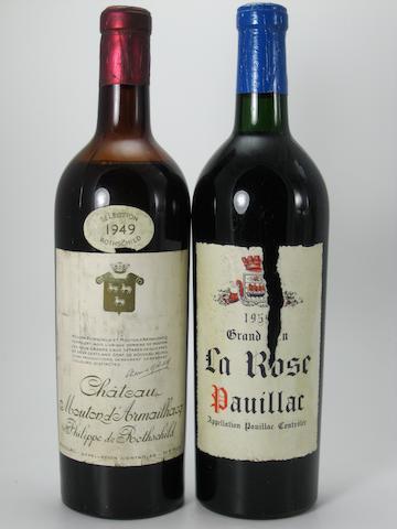 Château Mouton-d'Armailhacq 1949 (4)<BR />Château Larose 1959 (2)