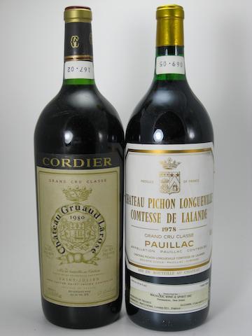 Château Pichon-Lalande 1978 (2 magnums)<BR />Château Pichon-Lalande 1985 (1 magnum)<BR />Château Gruaud-Larose 1980 (2 magnums)