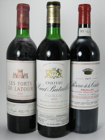 Les Forts de Latour 1970 (3)  Réserve de la Comtesse 1982 (7)  Réserve de la Comtesse 1983 (4)  Château Haut-Batailley 1970 (2)