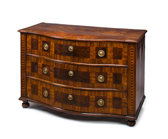 A South German Baroque parquetry three-drawer commode, circa 1750