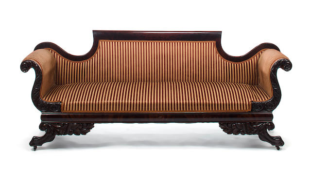 A Classical covered and veneered mahogany sofa <BR />Probably New York<BR />circa 1825-1840 <BR />