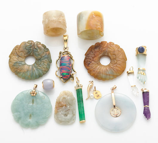 A collection of jade, cultured pearl, gem-stone, hardstone, synthetic opal, diamond, fabric and 14k gold jewelry