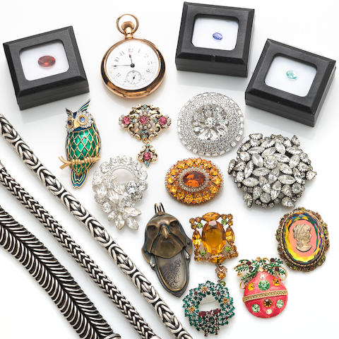 A miscellaneous collection of unmounted stones, silver and costume jewelry, including Eisenburg Originals