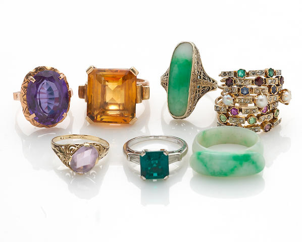 A collection of seven gem-set, synthetic gem, hardstone, cultured pearl, diamond, diamond simulant, 14k and 10k gold rings