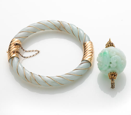A jadeite jade and gold pendant together with bangle bracelet