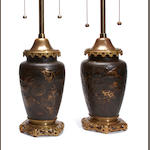 A pair of Japanese mixed metal vases now as table lamps